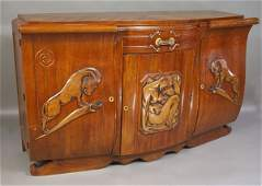 2226: 1920s French Art Deco Sideboard w/ Handcarving
