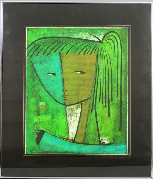 2285: Signed Angel Botello, Portrait of Girl, Linocut