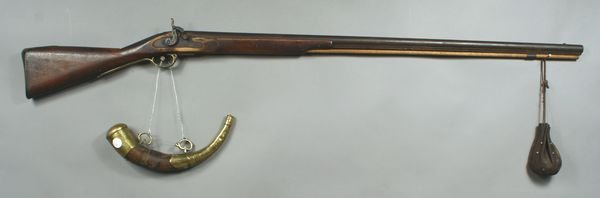 2019: Early Brown Bess Rifle w/ Horn and Shot Pouch