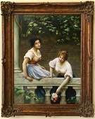 After Eugene de Blaas, Two Women, Oil on Canvas