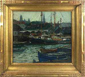 Aldro T. Hibbard, Gloucester Harbor, Oil on Canvas