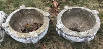 Pair of Painted Cement Low Garden Urns