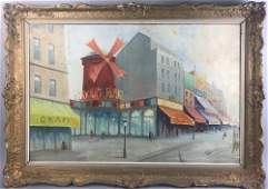 Signed Bazze, Moulin Rouge, Oil on Canvas