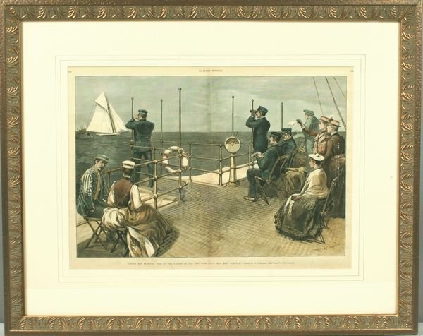 3002: 19th C. Lithograph of Yachts Starting Times