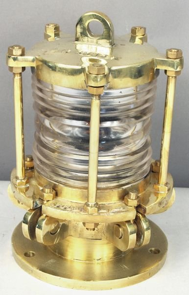 3005: Mid 20th C. Brass Dock Lantern W/ Fresnel Lens