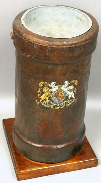 3016: British Royal Navy Leather Cannonball Bucket