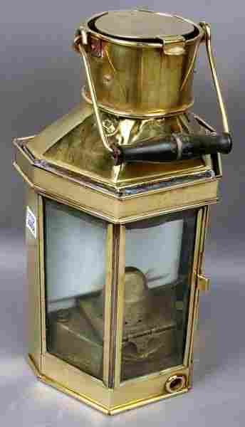 3019: Early 20th C. Solid Brass Ship's Lantern