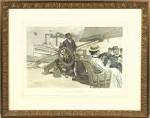 3020 Lithograph of People Relaxing on a Steam Yacht