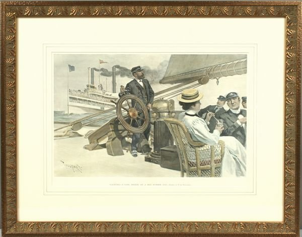 3020: Lithograph of People Relaxing on a Steam Yacht