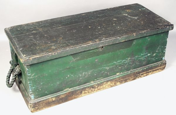 3023: 19th C. Dovetailed Six Board Sea Chest