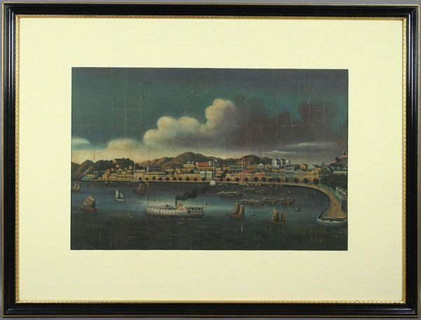 3116: 19th C. China Trade, Port Scene of Macau, O/C