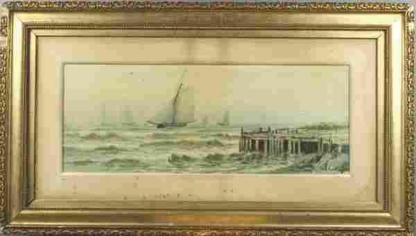 3202: 19th C. Otis Webber Watercolor of Sloops