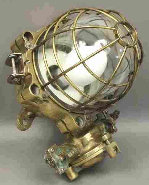 3203: Early 20th C. Brass Ship's Bulkhead Light