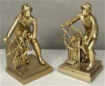 3290 Pair of Soild Brass Gloucester Fisherman Bookends