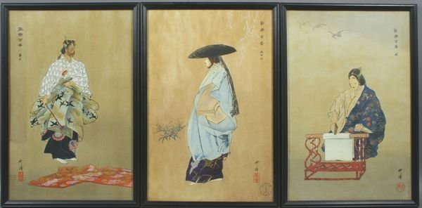 4001: (3) Early 20th C. Japanese Woodblock Prints