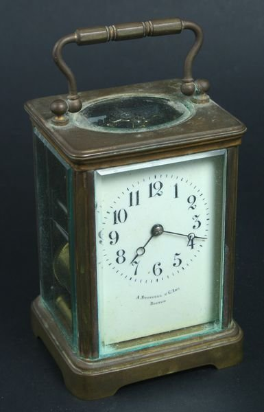 4004: Early 20th C. Brass Carriage Clock, Stowell & Co.
