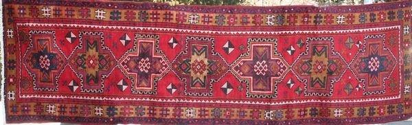 "4010: Persian Hamadan w/ Kazak Pattern, 10' x 2' 11"""