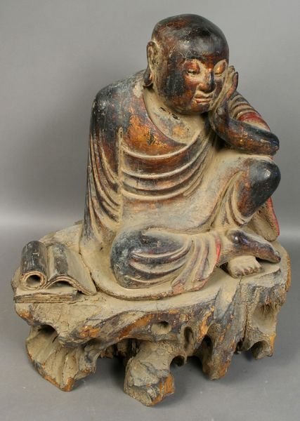 4012: 18th C. Chinese Monk, Carved Polychrome Wood