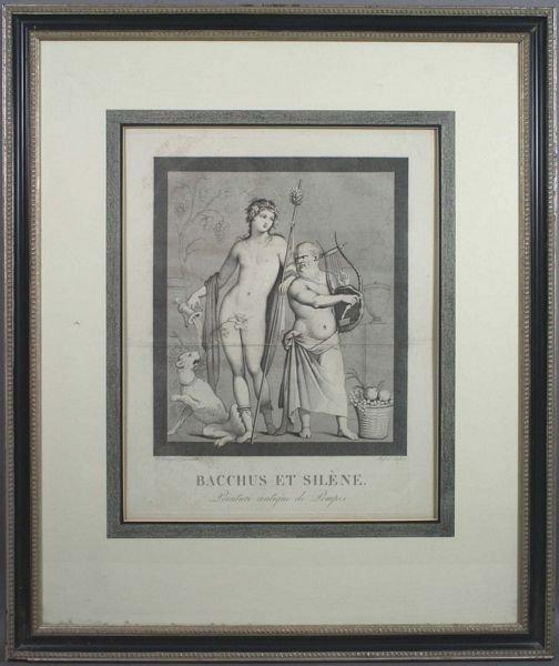 """4016: 19th C., """"Bacchus et Silene"""", Engraving by Demoye"""