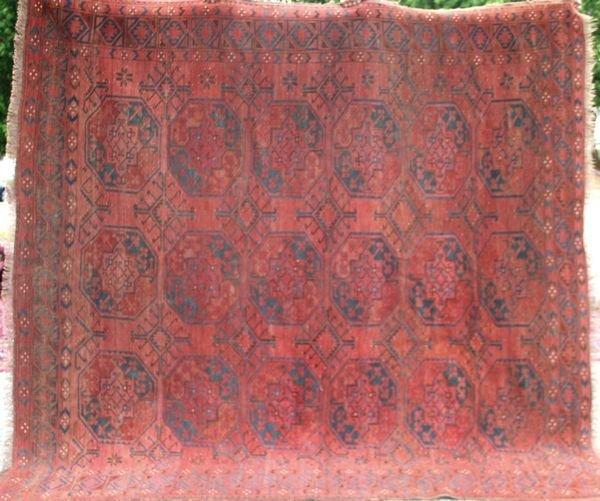 "4017: 19th Century Bokhara Rug, 7' 7"" x 8' 2"""