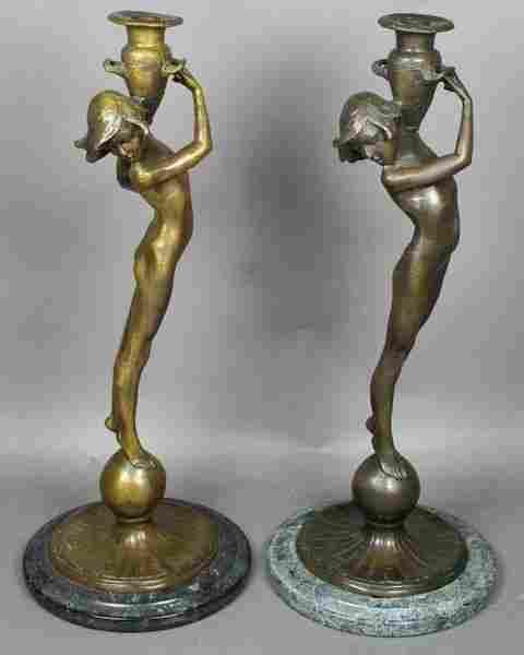 4069: 20th C. Sgnd McCartan Bronze Nude Candlesticks