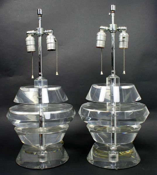 4358: Pair of Karl Springer Lucite Lamps