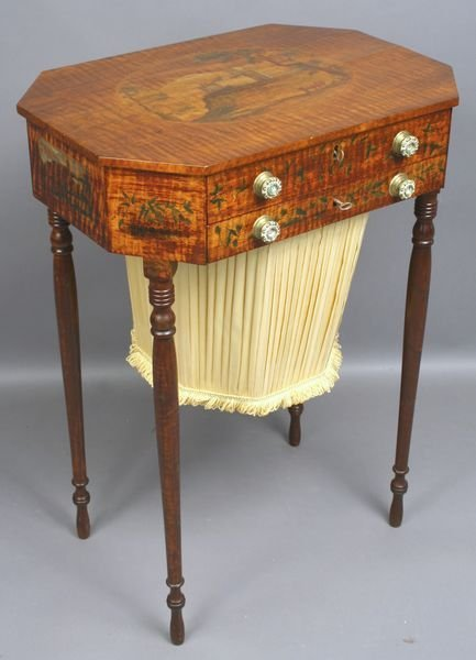 5113: Early 19th C. Boston School Federal Sewing Table