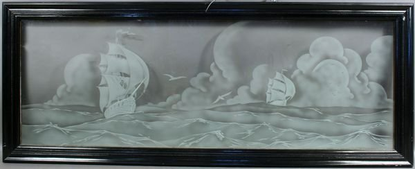 5002: Etched Glass Window of Ships At Sea