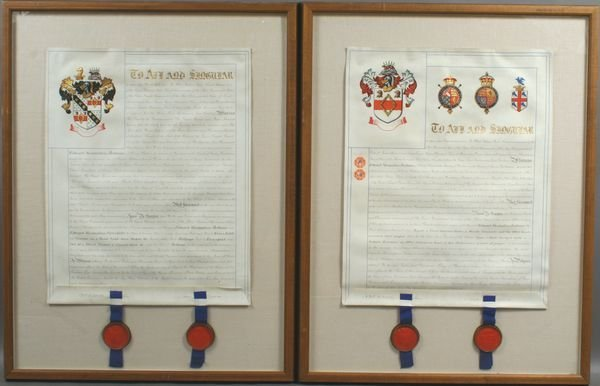 5003: Two (2) 19th Century English Indentures, Framed