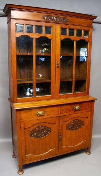 5005: English Oak Arts & Crafts Cupboard w/ Carving