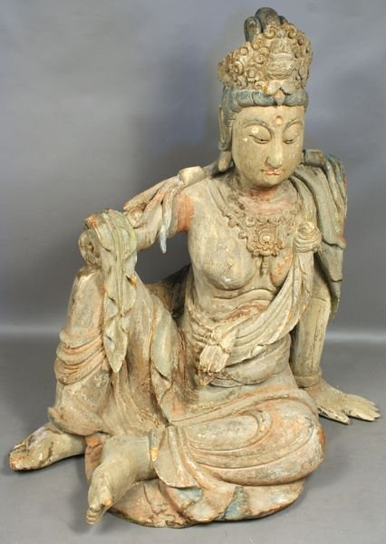 5007: 19th C. Chinese Carved Wooden Painted Figure