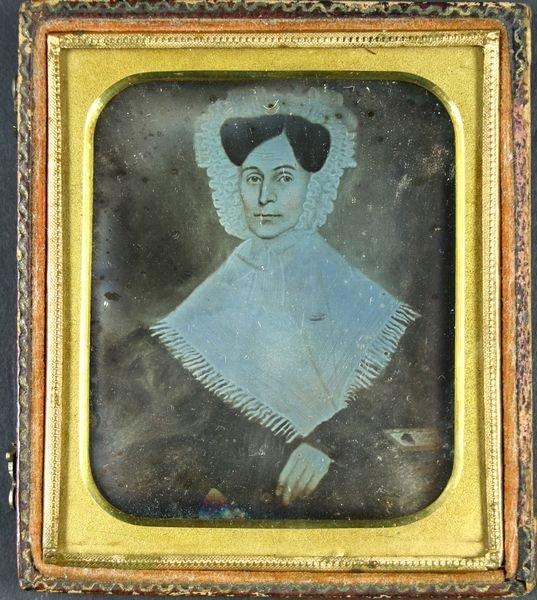 5008: 19thC. Daguerreotype of Primitive Painting, Woman