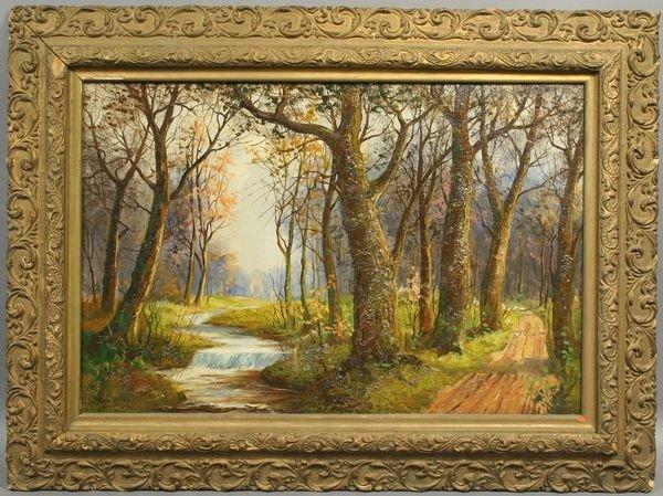 5012A: Signed Merwin, Vermont Stream Landscape, o/c