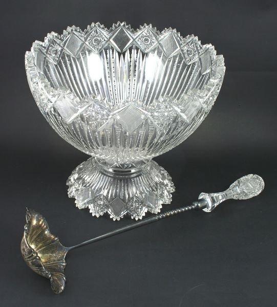 5015: American Brilliant Cut Glass Punch Bowl, Ladle