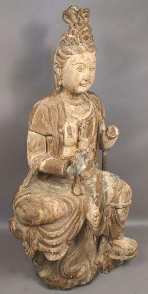 5017: 19th C. Chinese Carved Wooden Painted Figure