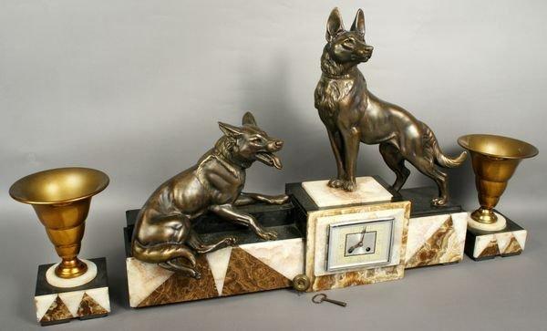 5018: Three-piece Art Deco Clock Set w/ Bronzed Dogs