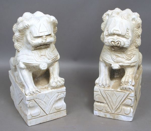 5019: Pair of Chinese Carved Marble Foo Dogs