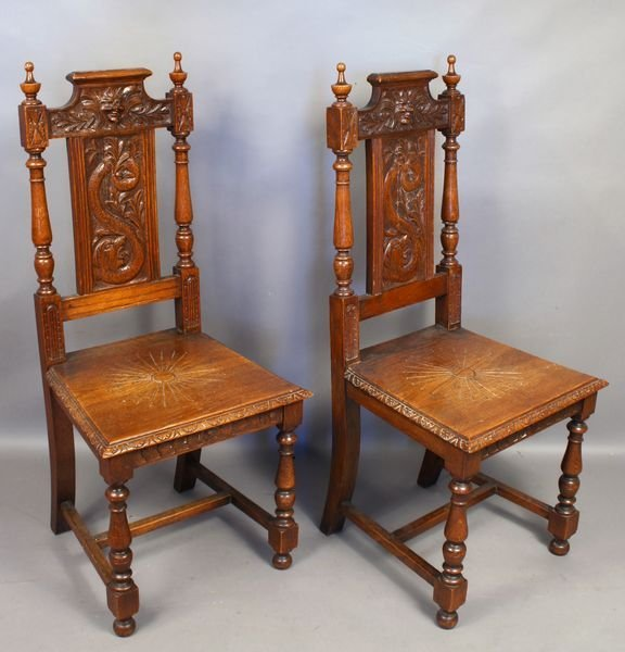 5020: Pair of 19th C. Continental Carved Oak Chairs