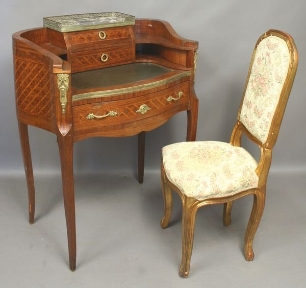5021: 19th C. French Marquetry Writing Desk w/ Chair
