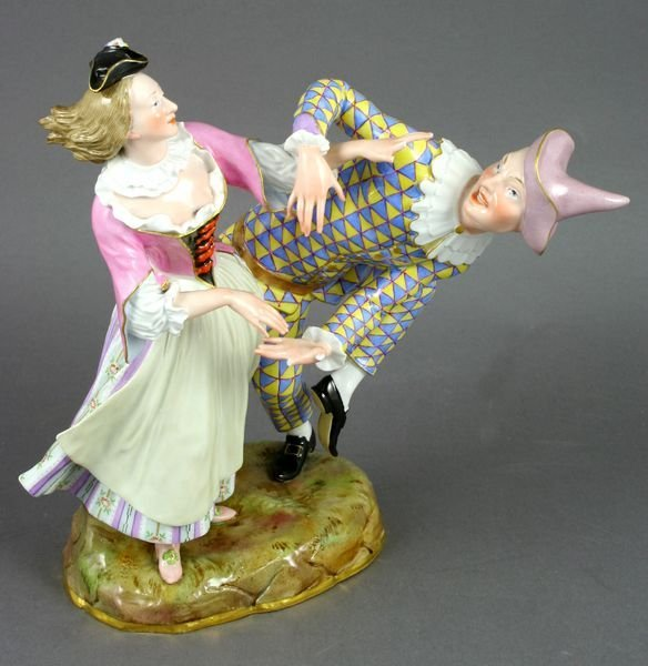 5300: Porcelain Dancing Clowns Figurine, Meissen Mark