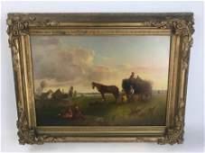 19thC American Farm Scene, Oil on Canvas