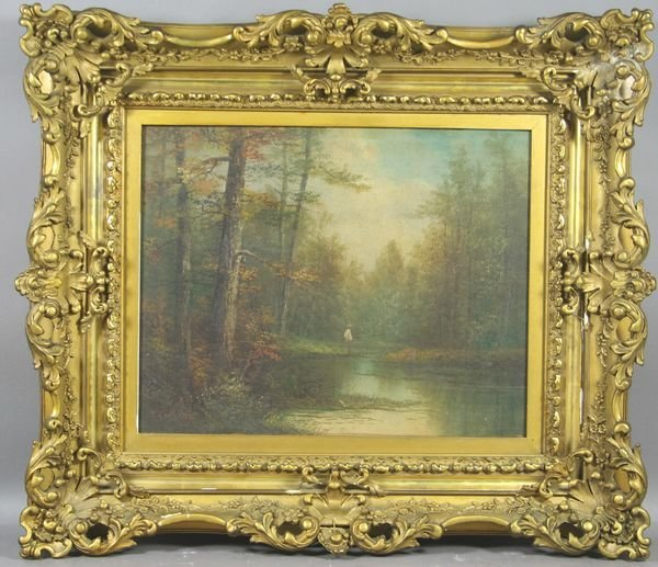 6007: Signed J.C. King, Fisherman on River, o/c, 19th C