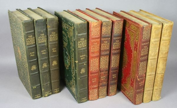"6009: (10) Leather Bound Books ""Anglo-Saxon Review"""