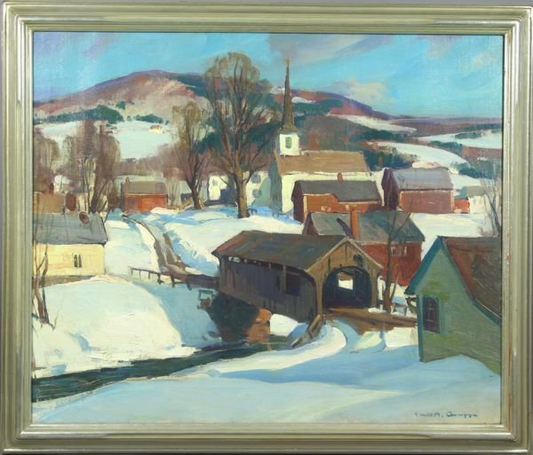 6121: Signed Emile Gruppe, Winter in Waterville, VT, o/
