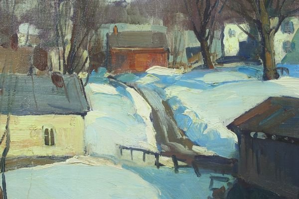 6121: Signed Emile Gruppe, Winter in Waterville, VT, o/ - 2