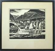 6184: Sgnd Carroll T. Berry, Camden Harbor, Woodblock