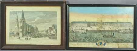 6316: (2) 18th C. French HC Prints, Chartres, Bordeaux