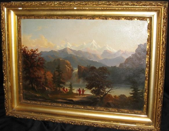 115: Albert Bierstadt, Sierras, Indians, Oil/Artist Boa