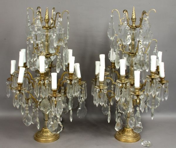 1: Pair of 20th C. Brass and Glass Table Sconces