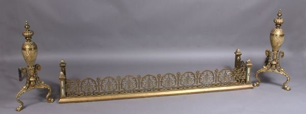 2: Pair of Art Nouveau Brass Andirons with Fender